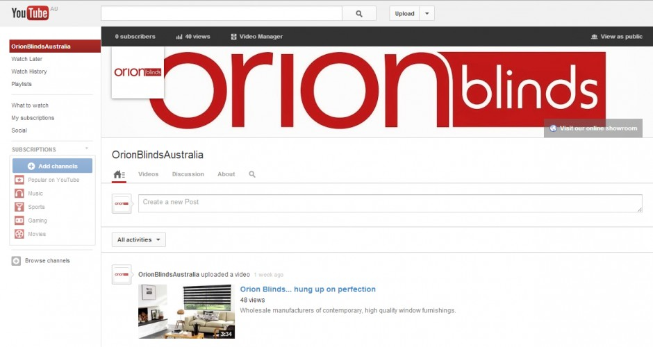 Orion Blinds on YouTube